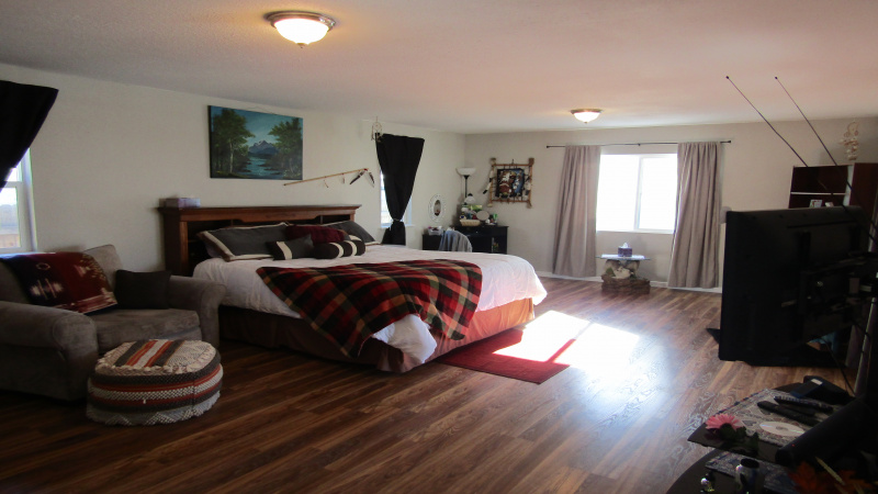 Family room being used as master bedroom