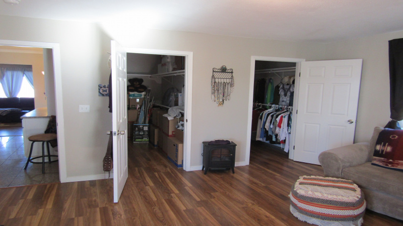 Large double walk in closets in family room
